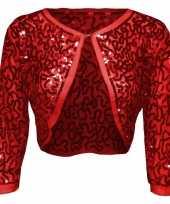 Rode glitter pailletten disco bolero jasje dames trend