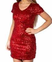 Rode glitter pailletten disco jurkje dames trend