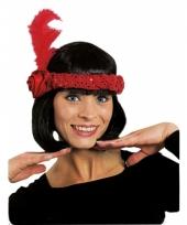Rode hoofdband met veer en roos trend