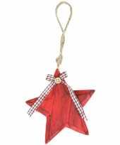 Rode houten ster hanger 11 cm trend