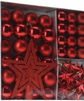 Rode kerstboomversiering 45 delig trend