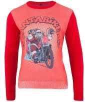 Rode kersttrui santa biker trend