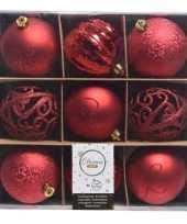 Rode kerstversiering kerstballen set van kunststof 9 stuks trend
