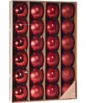 Rode kerstversiering kerstballenset 24 stuks kunststof 6 cm trend