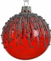 Rode kerstversiering transparante kerstballen van glas 8 cm trend 10104723