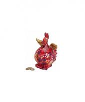 Rode kip spaarpot met bloemen trend