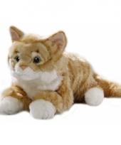 Rode liggende pluche kat 35 cm trend