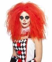 Rode luxe clownspruik xl voor volwassenen trend