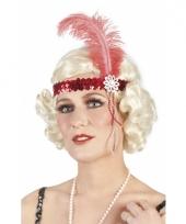 Rode pailletten hoofdband met veer trend
