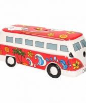 Rode porseleinen autobus spaarpot trend