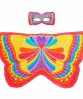 Rode regenboogvlinder verkleedset voor meisjes trend