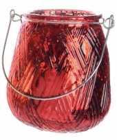 Rode theelichthouder lantaarn 10 cm trend