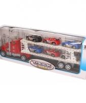 Rode truck 50 cm met zes speelvoertuigen trend