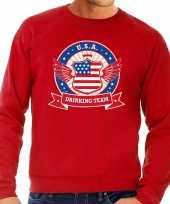 Rode usa drinking team sweater heren trend