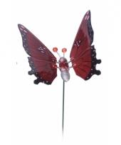 Rode vlinder op stok 17 cm trend