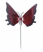 Rode vlinder op stok 20 cm trend