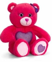 Rode zittende beer met paarse hart 25cm trend