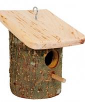 Rond vogelhuisje boomschorsm met plat dak trend
