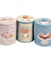 Ronde bewaarblikjes roze cupcakes trend