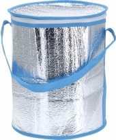 Ronde koeltas aluminium blauw 26 cm trend