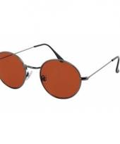 Ronde zonnebril metaal bruin trend