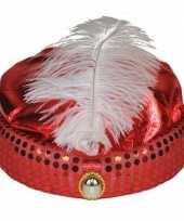 Rood arabisch sultan hoedje met diamant en veer trend