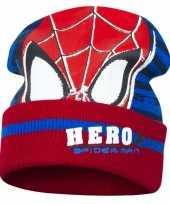 Rood blauwe spiderman muts voor jongens trend