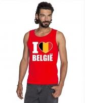 Rood i love belgie fan singlet-shirt tanktop heren trend