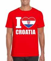 Rood i love kroatie fan shirt heren trend