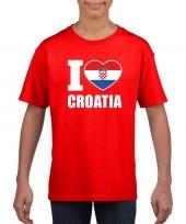 Rood i love kroatie fan shirt kinderen trend