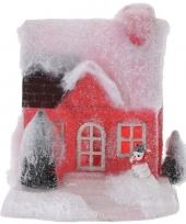 Rood kerstdorp huisje 18 cm type 1 met led verlichting trend