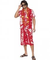 Rood met wit gebloemd hawaii setje trend