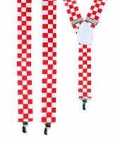 Rood met wit geblokte bretels trend