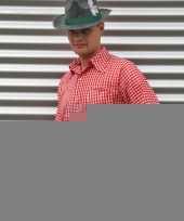Rood tiroler overhemd met ruitjes trend