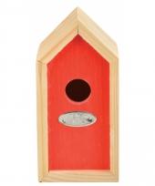Rood vogelhuisje 10 x 11 x 20 cm trend