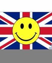 Rood wit blauwe vlag met smiley 90 x 150 cm trend