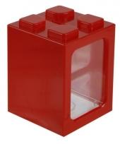 Roode bouwsteentjes spaarpot 11 cm trend