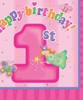 Roze 1e verjaardag servetten trend