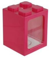 Roze bouwsteentjes spaarpot 11 cm trend