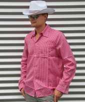 Roze cowboy overhemd met ruitjes trend