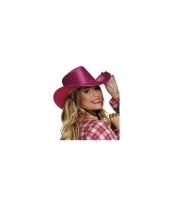 Roze cowboyhoed howdy pailletten voor volwassenen trend