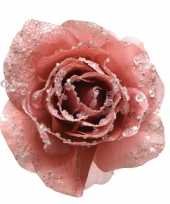 Roze decoratie bloem 14 cm op clip trend