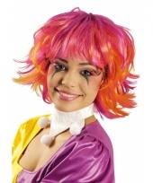 Roze en oranje pixie pruik trend