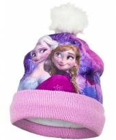 Roze frozen muts met fleece trend