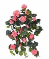 Roze geranium kunstplant hangplant 70 cm trend