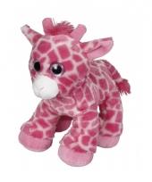 Roze giraffe knuffel 22 cm trend