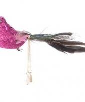 Roze glitter vogel kerstversiering clip decoratie 5 cm trend