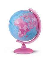 Roze globe met verlichting 25 cm trend