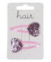 Roze haarspeldjes met glitter hartje trend