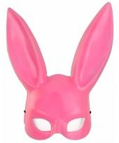 Roze konijnen hazen masker voor volwassenen trend